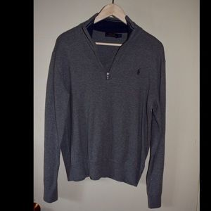 Grey Ralph Lauren Polo Half-zip Pullover Sweater